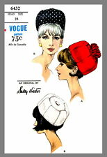 Hat Vogue Designer Sally Victor Hat Fabric material sewing  pattern # 6432