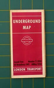 1939 No.2 London Underground Tube Railway Large Map Good Condition