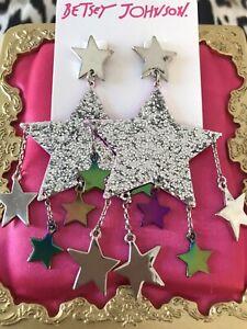 Betsey Johnson Star Power LARGE Silver Glitter Star Oil Slick Pink Earrings RARE