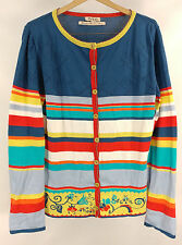 Beautiful IVKO Handwritten Emotions Striped  Cardigan Sweater - Size Medium 38