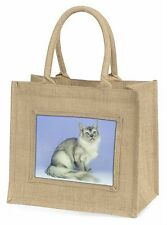 Silver Coat Tiffanie Cat Large Natural Jute Shopping Bag Christmas Gi, AC-113BLN