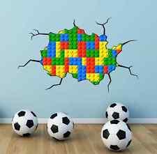 FULL MULTI COLOUR LEGO BRICKS CRACKED Wall Art Stickers Bedroom Graphic Print