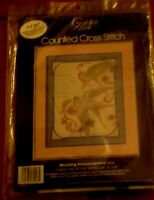 NIP  Golden Bee WEDDING ANNOUNCEMENT Counted Cross Stitch kit U.S.A. 1986