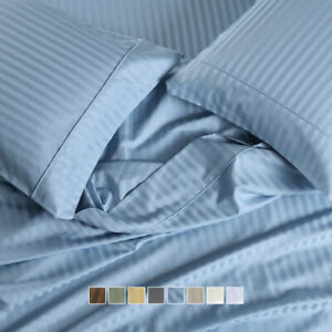 """650 Thread Count Striped Bed Sheets Set Cotton Blend 15"""" Deep Pockets Sheets"""