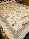 Vintage+white+cotton+tablecloth%2C+berries%2C+roses