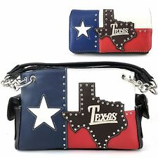 Justin West Texas State Flag Red White Blue Conceal Carry Purse Wallet Set