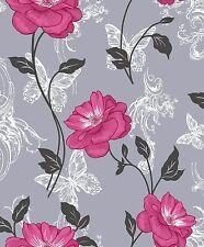 NEW Crown Milie Butterflies  Floral Designer Wallpaper  Pink / Charcoal - M0877