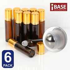 6x Roll on Ball Bottle 10ml Amber Glass Roller Rollerball Perfume Essential Oil