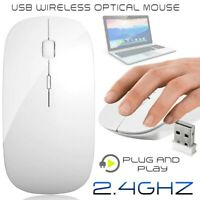 2.4GHz Wireless Mouse Slim Optical Mice w/ USB Receiver For Laptop PC Mac White