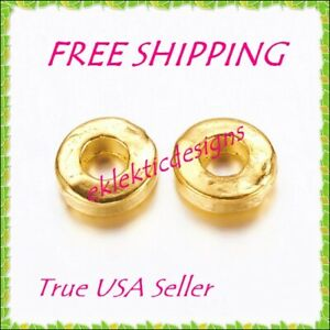 25pc 6mm Gold Plated Alloy Tibetan Style Disc Donut Round Spacer Beads FREE SHIP