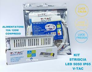 KIT 5050 STRIP LED STRISCIA 5 MT IP65 LUCE LED  CON ALIMENTATORE 12V 10A  V-TAC