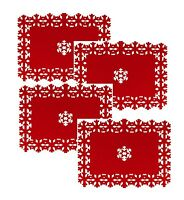 Set of 4 Beautiful Christmas Placemats Snowflake Lazercut Red Felt Table Decor