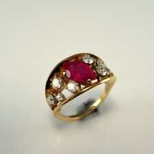 NEON Natural Pear Cut Ruby Diamond Ring 14K Unique Yellow Gold VS Modernist Band