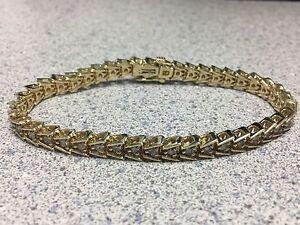 2.5 ct High Quality Custom Diamond Tennis Bracelet 14K Gold 17.6g unique setting