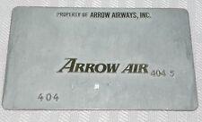 Rare Vintage Arrow Airways Metal Ticket Validation Plate Travel Agency Airlines