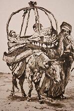 gravure XIX° d'ap.Guillaumet, scène orientaliste berceau sur une vache Algérie