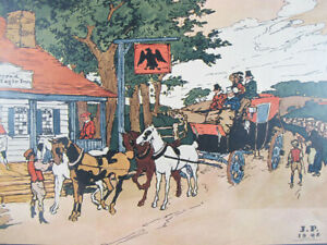 Antique 1909 Robert Smith Ale Ad Spread Eagle Inn Lithograph Print 1st of 4 yqz