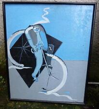 """""""La bicyclette"""" signé de Giovano PAVAN né en 1926 Grand peintre Italien"""