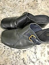 """Clark  Blue  Leather Slip On Mules Thick Rubber Sole Sz 8 3/4"""" Heel"""