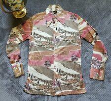 Authentic 60s 70s Disco Shirt MR. JAN Hipster Wild Mens Polyester Dress M VTG