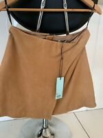 Kookai Leather camel skirt size 40 NEW RRP $240