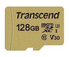 Transcend 128 GB Micro SD 500S Class 10 U3 Flash Memory Card New tbs