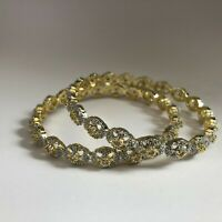 GOLD BANGLES BRACELET COSTUME JEWELLERY AMERICAN DIAMOND INDIAN PAIR NEW 2.6