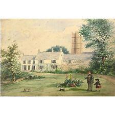 Charming Original Primitive Devonshire House Watercolour Painting Terrier Dogs