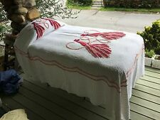 WHITE double peacock VINTAGE CHENILLE BEDSPREAD MEDIUM weight BURGUNDY MAUVE