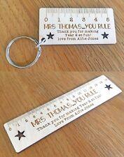 Personalised Teacher Thankyou Gifts School Nursery Lockdown Keyring Ruler Gifts