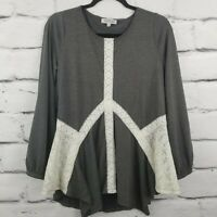 Listicle Womens Small Tunic Top Gray Ivory Lace Detail Longsleeve