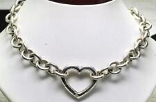"Tiffany & Co Sterling Silver Spring Opening Heart Clasp Choker Necklace 16"" long"