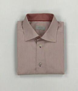 "Men's Red & White Striped Eton Shirt 16"" Slim Flip Cuffs Long Sleeved Spread A"