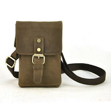 Vintage Genuine Leather Shoulder Cross Body Bag Small Men Women Fanny Cellphone
