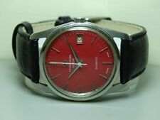 VINTAGE Favre Leuba GENEVE Daymatic AUTO MENS WRIST WATCH ANTIQUE B938 RED used