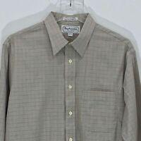 Burberrys of London VTG Plaid Dress Shirt Tan SZ 16-34