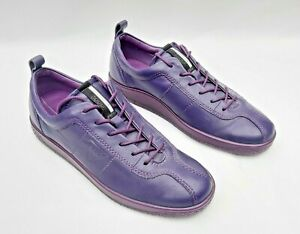 ECCO PURPLE LEATHER LACE UP TRAINERS CASUAL SHOES EU39 UK6 - 6.5 VGC FREE UK P&P
