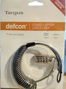 47.  Targus Defcon Coiled Laptop Cable Lock, with combination lock, 5.5 feet