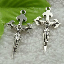40pcs tibet silver Jesus cross charms pendant 44x24mm B-4613 Free Ship