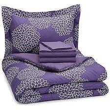 AmazonBasics 5-Piece Bed-In-A-Bag - Twin/Twin Extra Long, Purple Floral New