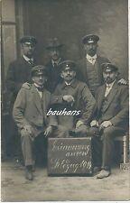 Gruppenfoto Metz alte Kämpfer mit Schild Erinnerung an den Feldzug 1914 (g829)