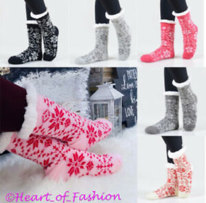 Women's Thick Knit Sherpa Lined Slipper Socks Fuzzy Soft Non Slip Skid Traction
