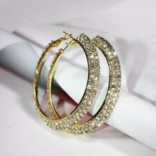Luxurious micro paved gold plated CZ crystal  2.25 inch hoop earrings