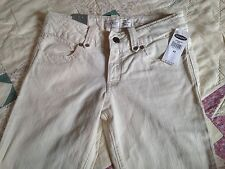 GIRLS OLD NAVY STRETCH CREAM OFF WHITE PANTS LOW RISE SKINNY ADJUSTABLE NWT 12