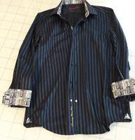 Robert Graham Men's Med Stripe Dress Sport Shirt Flip Cuff Cotton Blue Excl