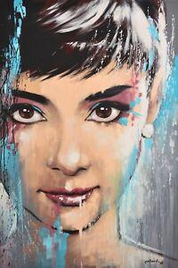 Audrey Hepburn by pollard 12x18 celebrity pop art print signed by artist