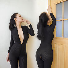 Sexy Front Zip Vertical Stripes Spandex Zentai Catsuit Bodysuit Fetish Costume