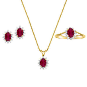 Ruby & Diamond Pendant, Earrings & Ring in 14K Yellow Gold Plated silver