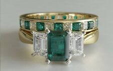 3ct Green Emerald Cut Engagement Ring Trilogy Bridal Set 14k Yellow Gold Finish