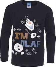 FROZEN CAMISETA NIÑO DISNEY Camiseta Edad 5-6 Azul Marino Manga Larga I'm Olaf